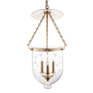 Hampton Aged Brass 25-Inch Three-Light Pendant with Clear Star Cut Glass