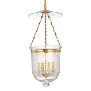 Hampton Aged Brass 31-Inch Four-Light Pendant with Clear Diamond Cut Glass