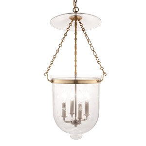 Hampton Aged Brass 31-Inch Four-Light Pendant with Clear Star Cut Glass