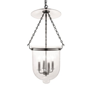 Hampton Historic Nickel 31-Inch Four-Light Pendant with Clear Glass