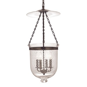 Hampton Old Bronze 31-Inch Four-Light Pendant with Clear Diamond Cut Glass