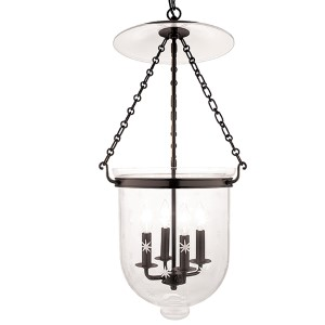 Hampton Old Bronze 31-Inch Four-Light Pendant with Clear Star Cut Glass