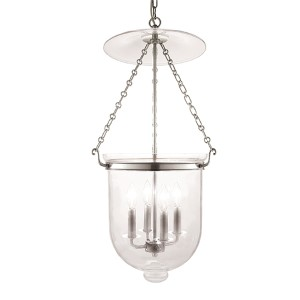 Hampton Polished Nickel 31-Inch Four-Light Pendant with Clear Glass
