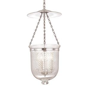 Hampton Polished Nickel 31-Inch Four-Light Pendant with Clear Diamond Cut Glass