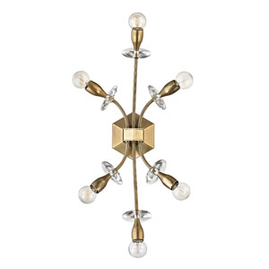 Alexandria Aged Brass Six-Light Wall Sconce