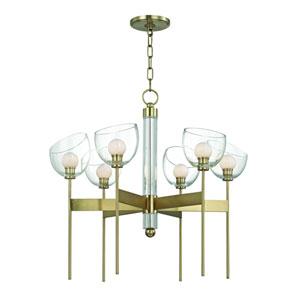 Davis Aged Brass Six-Light LED Chandelier
