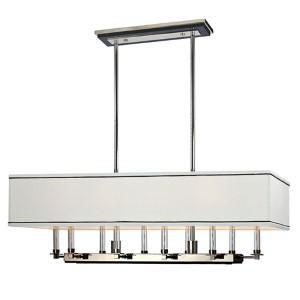 Collins Polished Nickel Ten-Light Island Light with White and Black Trim Shade