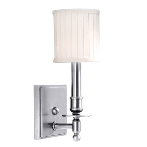 Palmer Polished Nickel One-Light Wall Sconce with Off-White Linen Shade