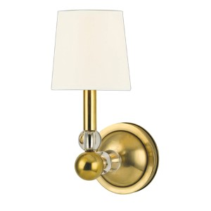 Danville Aged Brass Wall Sconce with White Faux Silk Shade