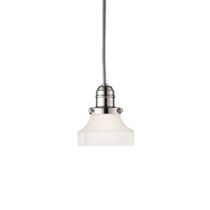 Vintage Polished Nickel One-Light Pendant w/ 5.5 Ft. Cord with Frosted Glass - 226 Glass