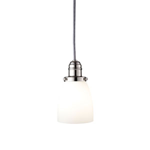 Vintage Polished Nickel One-Light Pendant w/ 5.5 Ft. Cord with Matte Opal Glass - 348M Glass