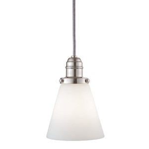 Vintage Polished Nickel 11-Inch One-Light Pendant with Opal Matte Glass