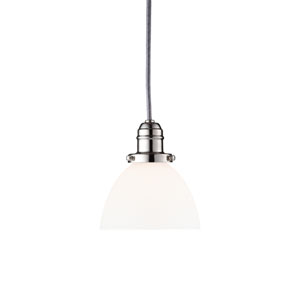 Vintage Polished Nickel One-Light Pendant w/ 5.5 Ft. Cord with Matte Opal Glass - 823 Glass