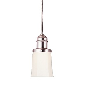 Vintage Satin Nickel One-Light Mini Pendant with Straight Cone White Glass