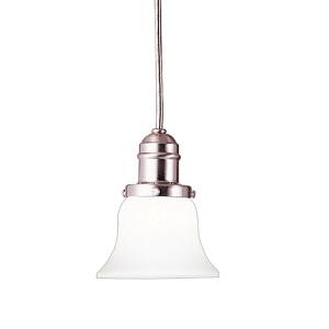 Vintage Satin Nickel One-Light Mini Pendant with Flared White Glass