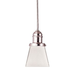 Vintage Satin Nickel One-Light Pendant with 5.5-Foot Cord with Inside Frosted Glass - 436 Glass