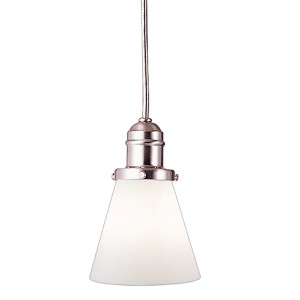 Vintage Satin Nickel One-Light Pendant with 5.5-Foot Cord with Matte Opal Glass - 505M Glass