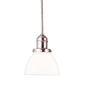 Vintage Satin Nickel One-Light Pendant with 5.5-Foot Cord with Matte Opal Glass - 823 Glass
