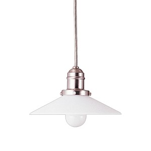 Vintage Satin Nickel One-Light Mini Pendant with Straight White Glass