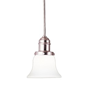 Vintage Satin Nickel One-Light Pendant with Flared White Glass
