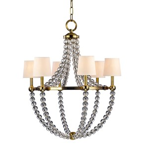 Danville Aged Brass Six-Light Chandelier with Cream Shade