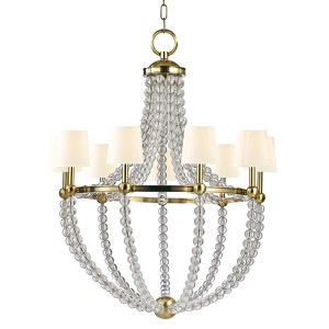 Danville Aged Brass Nine-Light Chandelier with White Faux Silk Shade
