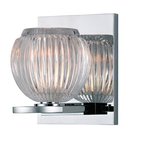Odem Polished Chrome One-Light Bath Light Fixture with Pressed Clear Glass