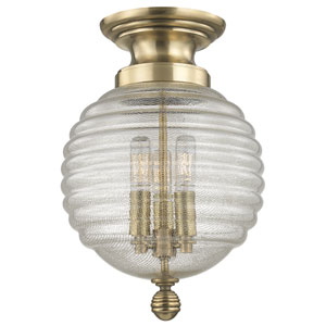 Coolidge Aged Brass Three-Light Flushmount with Clear Glass