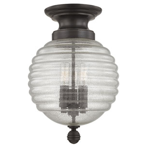 Coolidge Old Bronze Three-Light Flushmount with Clear Glass
