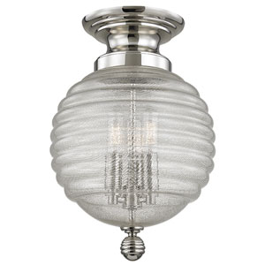 Coolidge Polished Nickel Three-Light Flushmount with Clear Glass