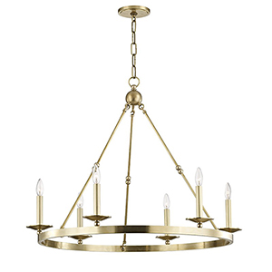 Allendale Aged Brass 6-Light 35.75-Inch Chandelier