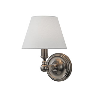 Sidney Historic Nickel One-Light Wall Sconce with White Linen Shade