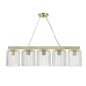 Charles Aged Brass 5-Light 40.5-Inch Island Light