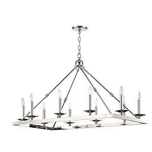 Allendale Polished Nickel 10-Light 27-Inch Chandelier