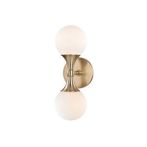 Astoria Aged Brass LED 5-Inch Two-Light Wall Sconce