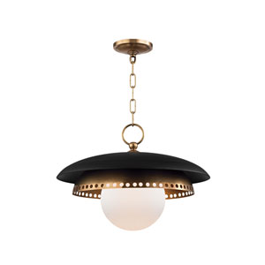 Herkimer Aged Brass and Black One-Light Pendant