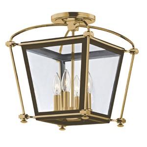 Hollis Aged Brass Four-Light Semi Flush Light Fixture with Clear Glass