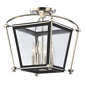 Hollis Polished Nickel Four-Light Semi Flush Light Fixture with Clear Glass