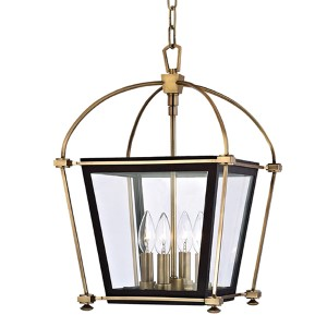 Hollis Aged Brass Four-Light 19-Inch Pendant with Clear Glass