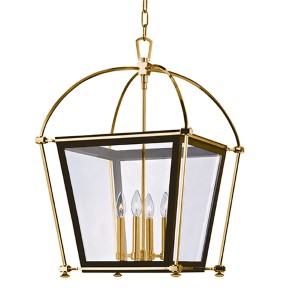 Hollis Aged Brass Four-Light 27 Inch Pendant with Clear Glass