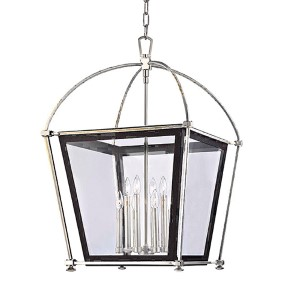 Hollis Polished Nickel Eight-Light Pendant with Clear Glass