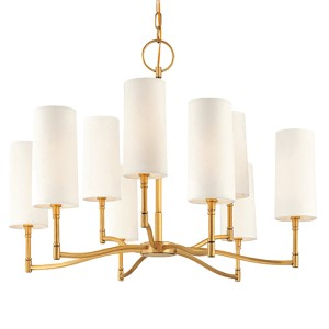 Dillion Aged Brass Nine-Light Chandelier