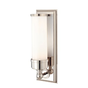 Everett Polished Nickel One-Light Sconce with Opal Glossy Glass