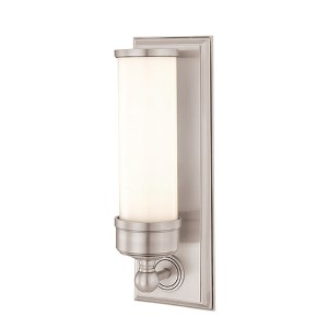 Everett Satin Nickel One-Light Sconce with Opal Glossy Glass
