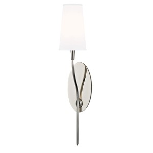 Rutland Polished Nickel One-Light Wall Sconce with White Shade