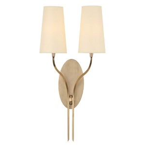 Rutland Aged Brass Two-Light Wall Sconce with Cream Shade
