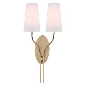 Rutland Aged Brass Two-Light Wall Sconce with White Shade