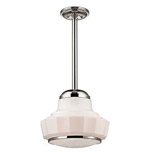 Odessa Polished Nickel One-Light mini pendant with Opal Matte Glass