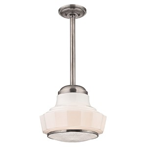 Odessa Satin Nickel One-Light mini pendant with Opal Matte Glass