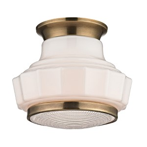 Odessa Aged Brass One-Light Semi Flush with Opal Matte Glass